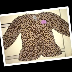 Carters fleece cheetah print zip-up sweater🎀NWOT